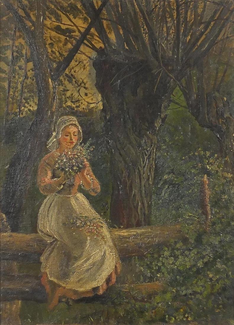 Girl in woodland collecting flowers, post impressionist oil on canvas, framed, 39cm x 28cm Further