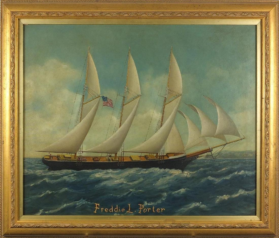 Freddie L Porter, portrait of a ship with American flag, oil on canvas, mounted and framed, 58cm x