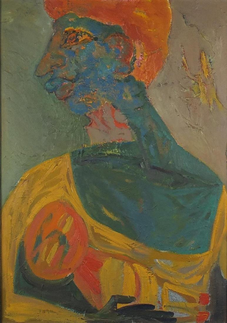 Head and shoulders portrait, impressionist impasto oil on canvas, framed, 84.5cm x 60cm Further