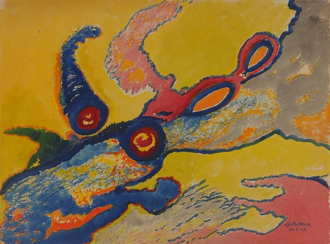 Grace Pailthorpe 1967 - Abstract composition, surreal sea life, watercolour on card, unframed, 38.