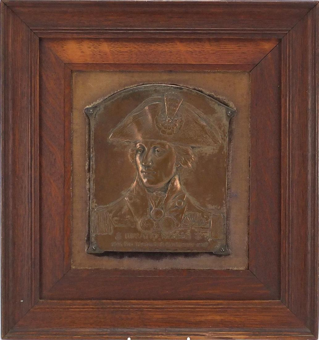 Early 20th century bronze Trafalgar centenary plaque, cast in relief with a portrait of Nelson,
