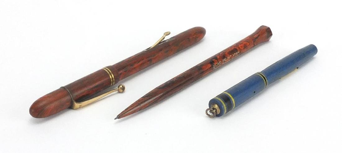 Brown ripple fountain pen, Conway Stewart duo point No 8M ripple propelling pencil and miniature
