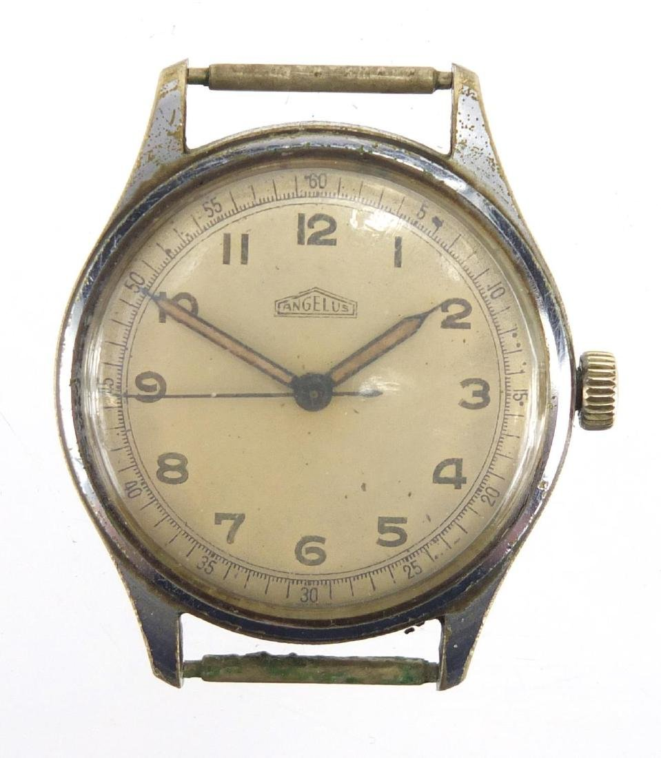 Vintage Gentleman's Angelus wristwatch with luminous hands, numbered 885802 to the back, 3.2cm in