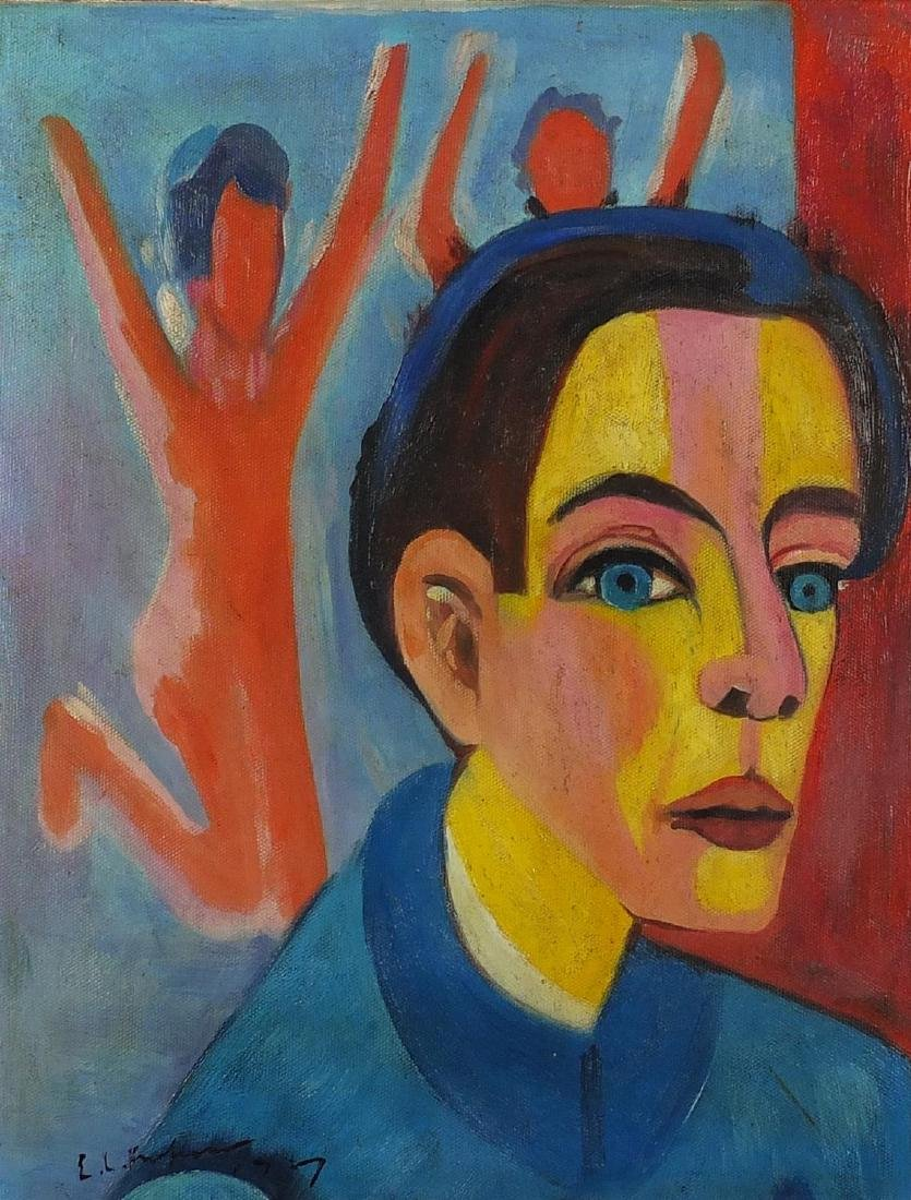 Abstract composition, portrait of a man before jumping figures, German expressionist oil on canvas