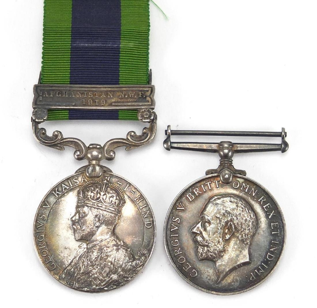 British Military George V India general service medal with Afghanistan N.W.F. bar and 1914-18 war