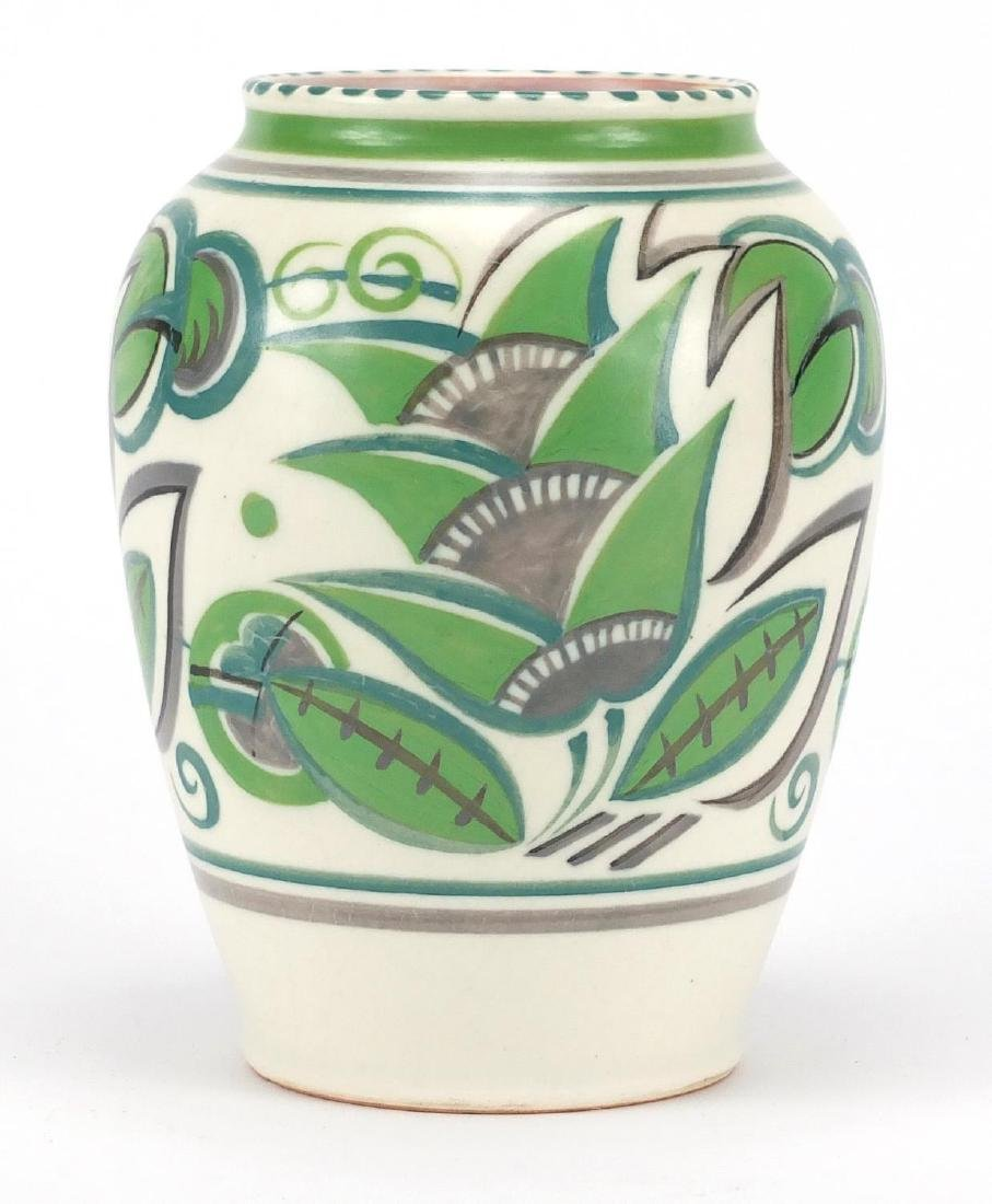 Poole pottery GPA pattern vase, hand painted in shades of green with stylised flowers, impressed