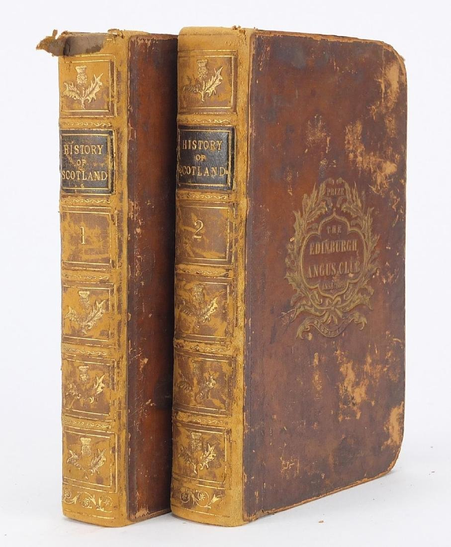 The History of Scotland by Sir Walter Scott two 19th century leather bound hardback books, volumes