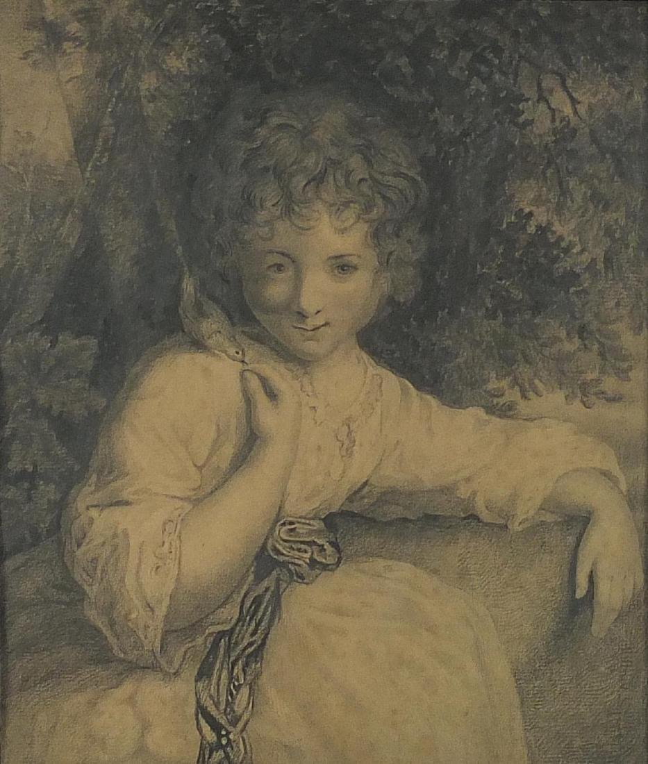 After Sir Joshua Reynolds - Robinetta, 19th century graphite on paper, inscriptions verso, mounted