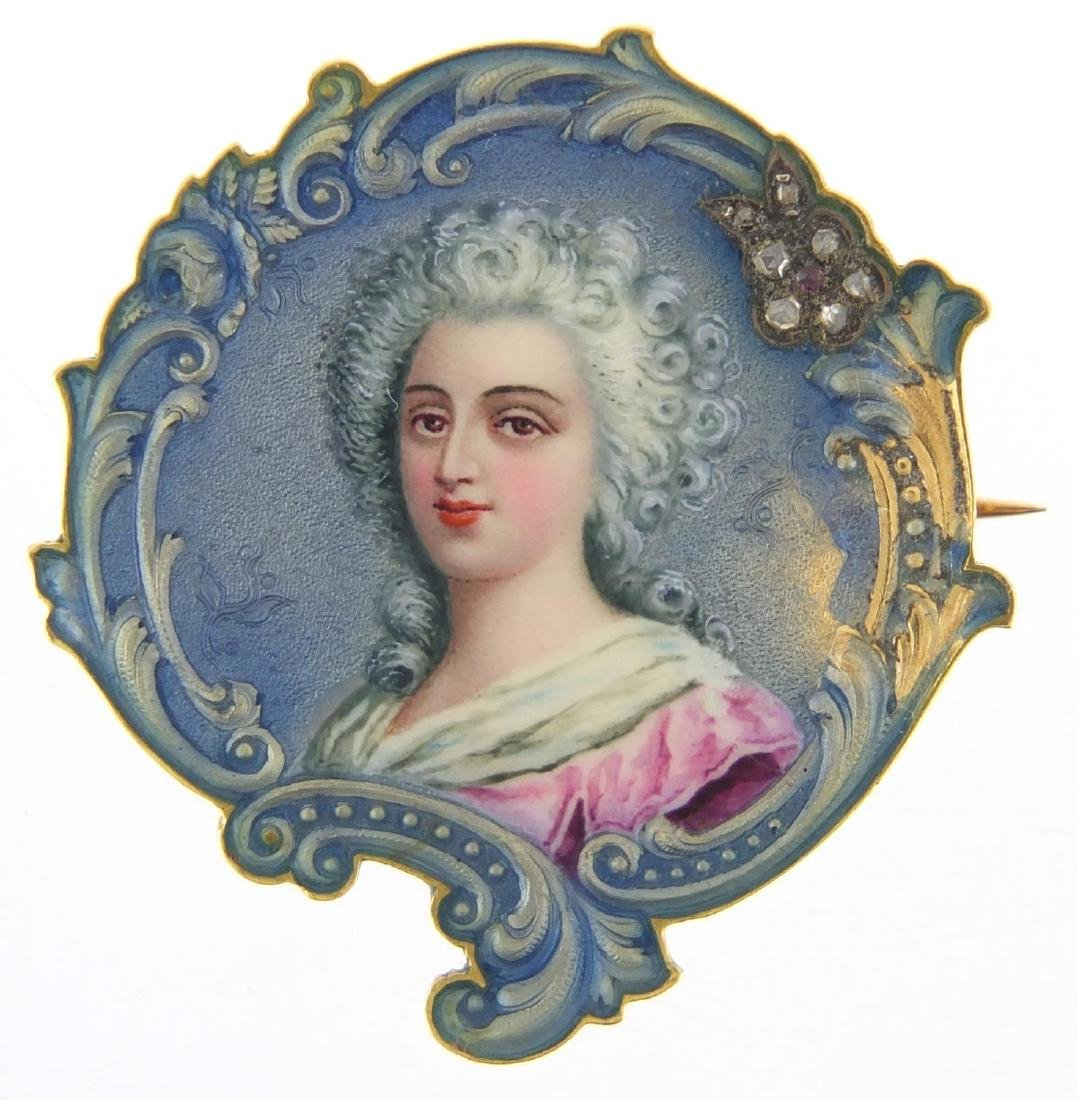 Unmarked gold and enamel portrait brooch set with diamonds and a ruby, numbered 796 to the