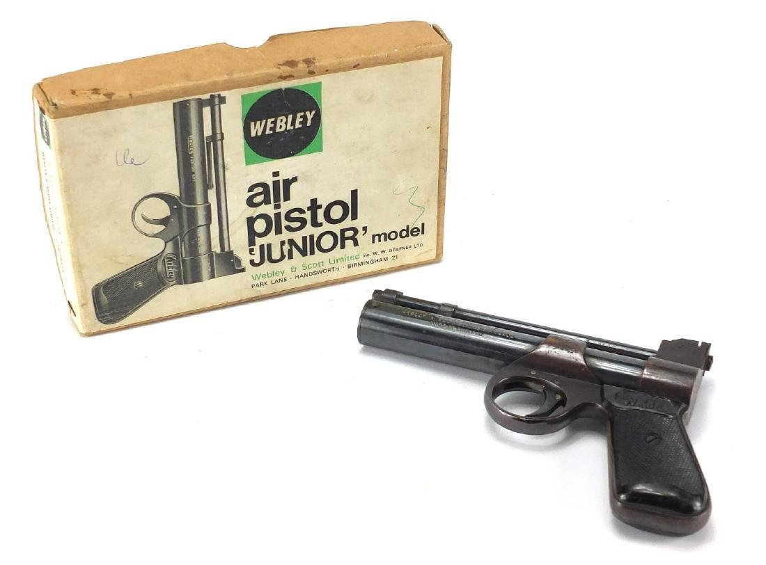 Vintage Webley junior model .177 air pistol with box Further condition reports can be found at the