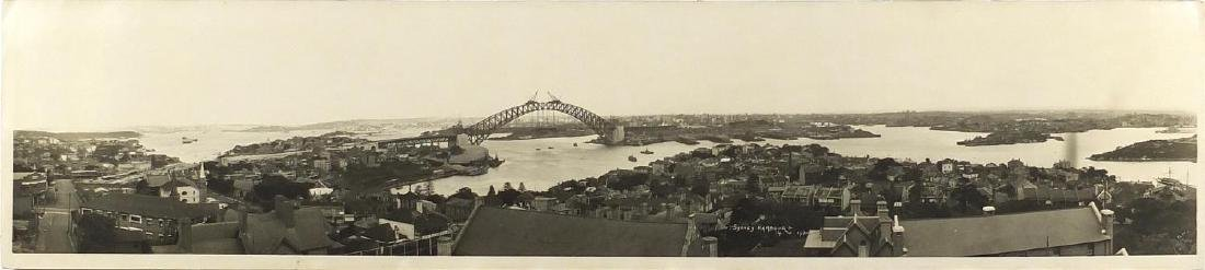 1930's black and white panoramic photograph of Sydney Harbour with R P Moore of Sydney embossed