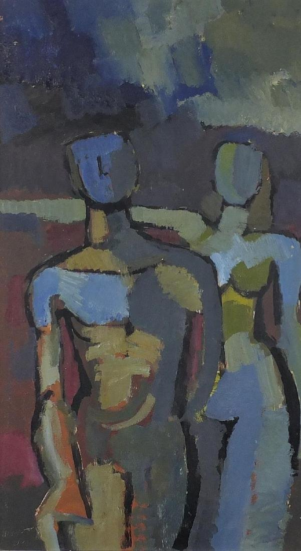 Abstract composition, two nude figures, oil on board, bearing an indistinct signature, mounted and
