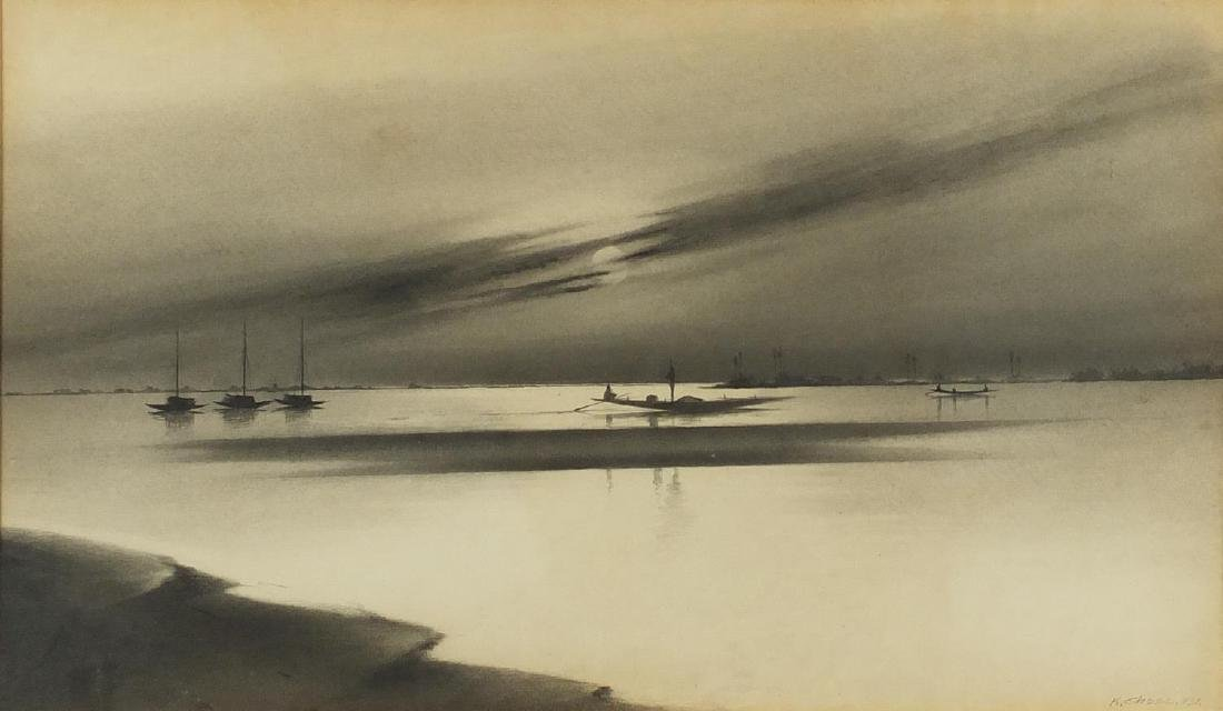K Chose 1931 - Fishing boats, graphite on card, mounted and framed, 46cm x 27.5cm Further