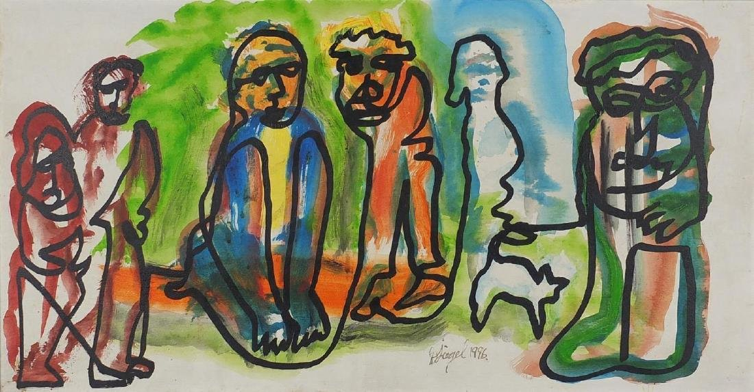 Manner of Fernand Léger - Surreal figures, mixed media on board, bearing a signature and inscription