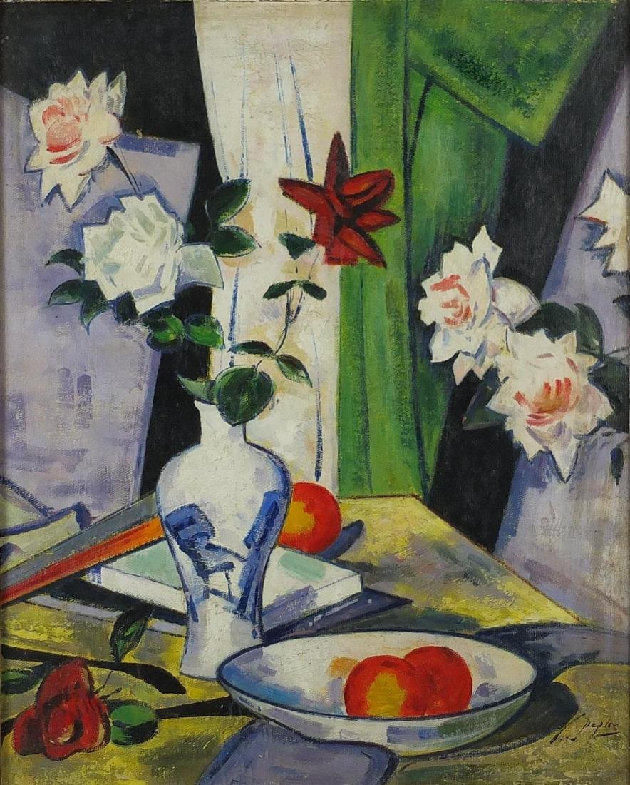 Still life items on a table, Scottish school oil on canvas, bearing a signature Deph, mounted and