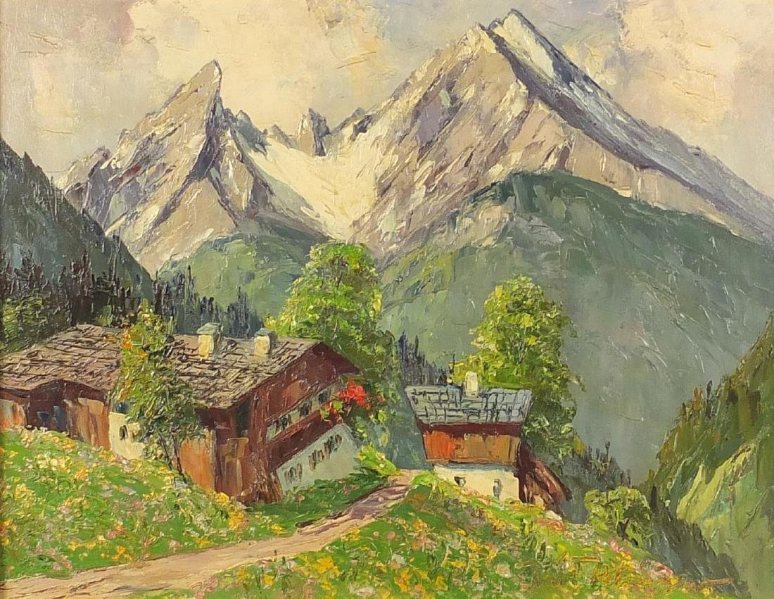 Swiss Alps with buildings, oil on board, bearing an indistinct signature and inscription verso,