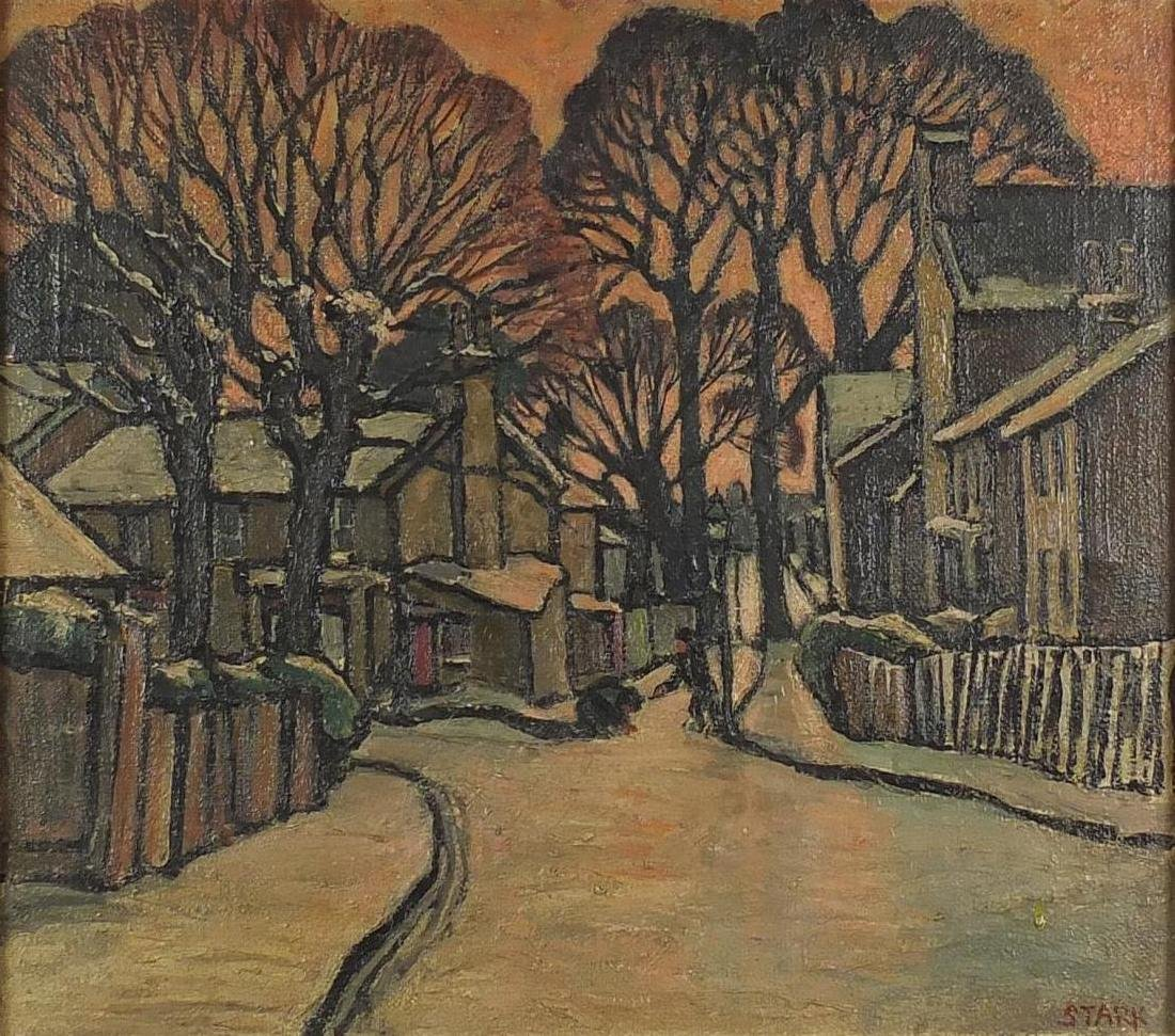 Melville F Stark - Snowy street scene with children playing with snow, possibly New England, mid
