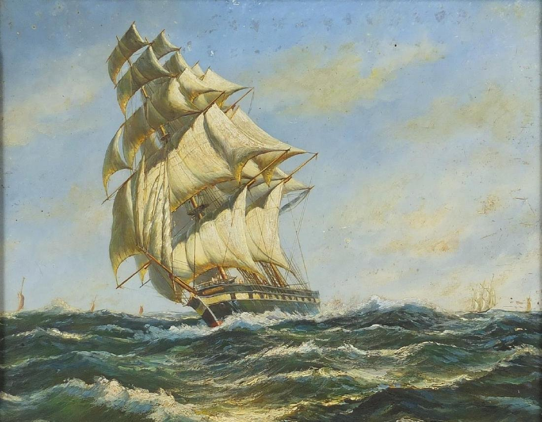 Ships in a choppy sea, oil on board, bearing an inscription Ships in a Choppy Sea W Jackson verso,