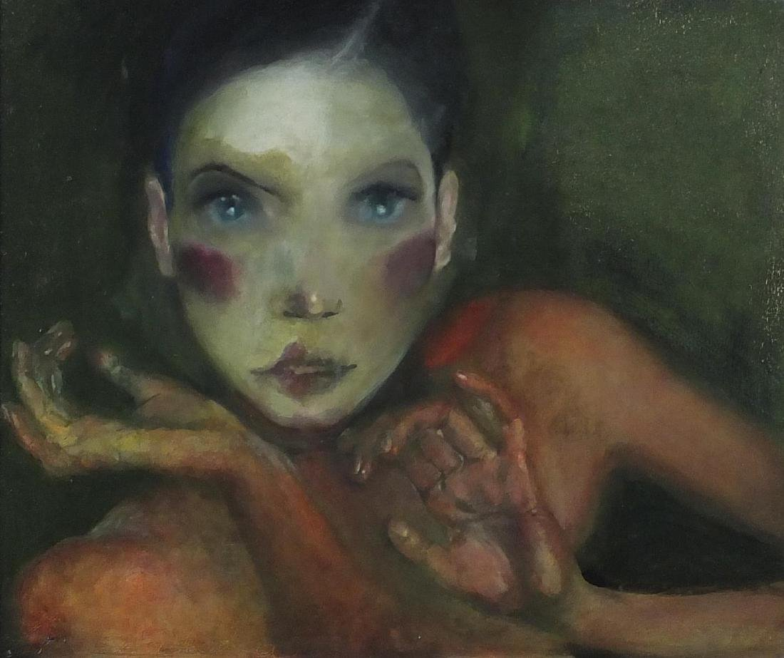 Head and hands portrait of a female, surreal school oil on board, bearing an incised signature