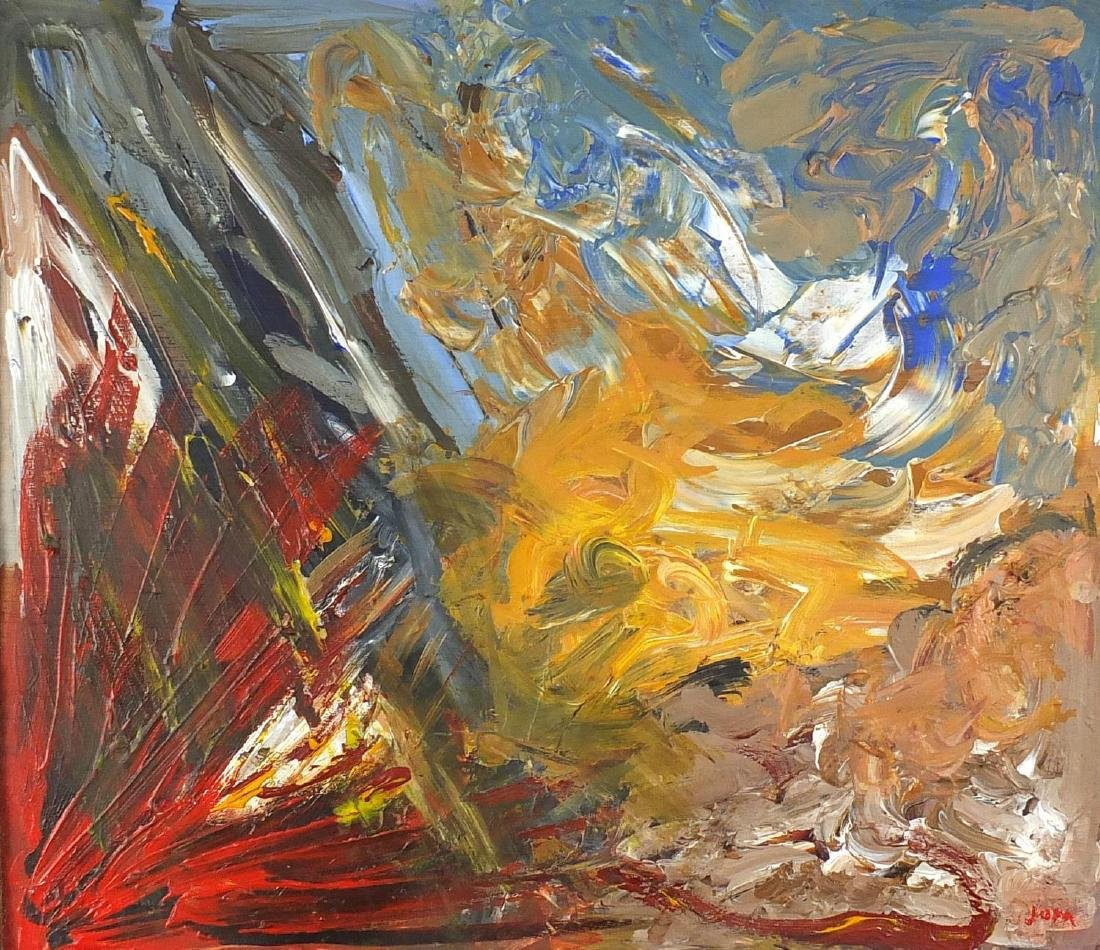 Abstract composition, oil on board, bearing an indistinct signature Jupa? framed, 42cm x 35cm