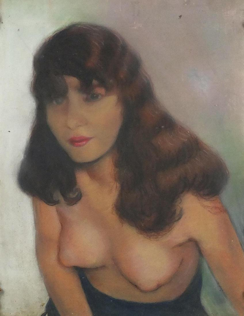 Top half portrait of a nude female, pastel on board, bearing a signature Nossac, framed, 47cm x 37cm