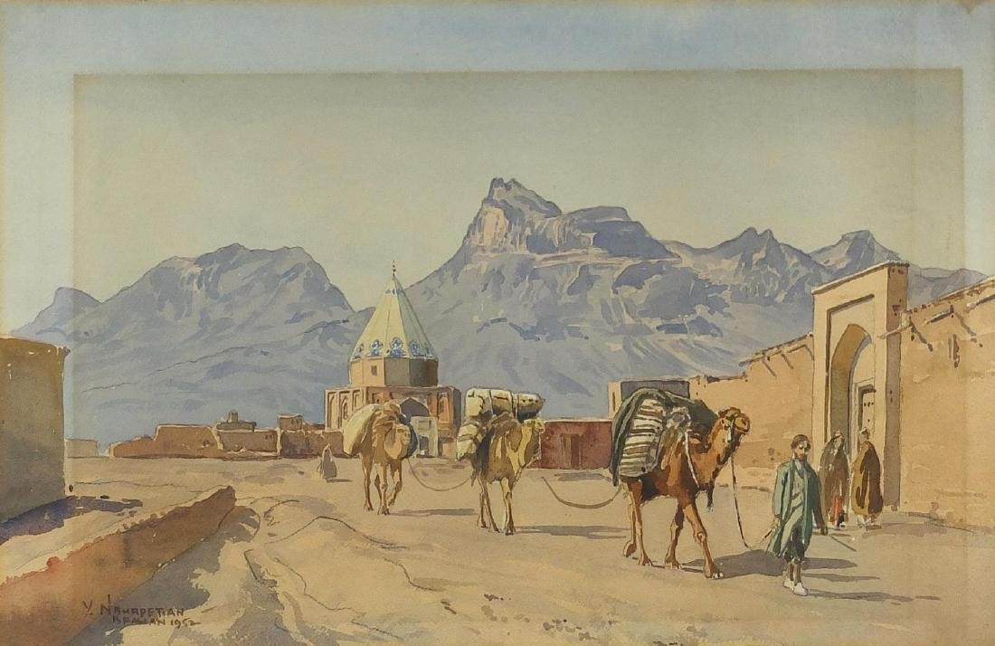 Yervand Nahapetian 1952 - Isfahaan with camels, watercolour, mounted and framed, 46.5cm x 30.5cm