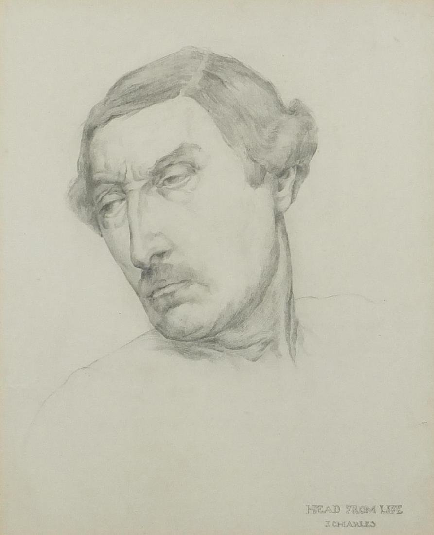James Charles - Head from Life, head and shoulders portrait, possibly of Paul Gauguin, pencil on