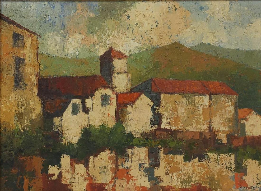 Buildings before mountains, impressionist oil onto canvas, bearing an indistinct signature Mink ?