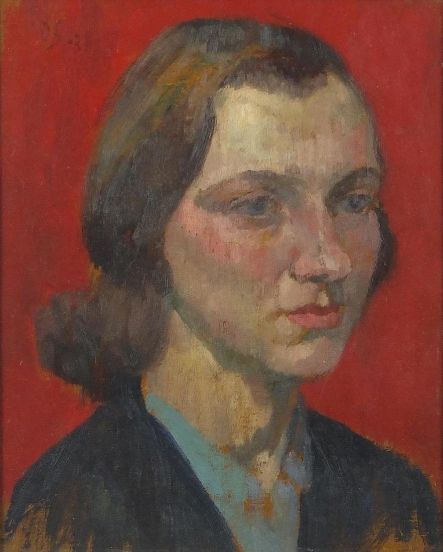 After Duncan Grant - Head and shoulders portrait of a female, oil on board, framed, 26cm x 20.5cm