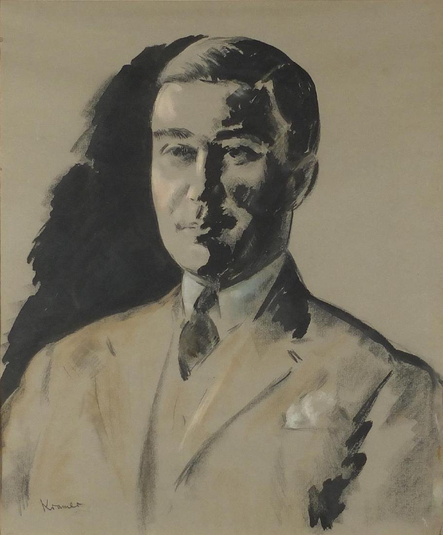 Jacob Kramer - Head and shoulders portrait of Edward VIII, charcoal and watercolour on card, mounted