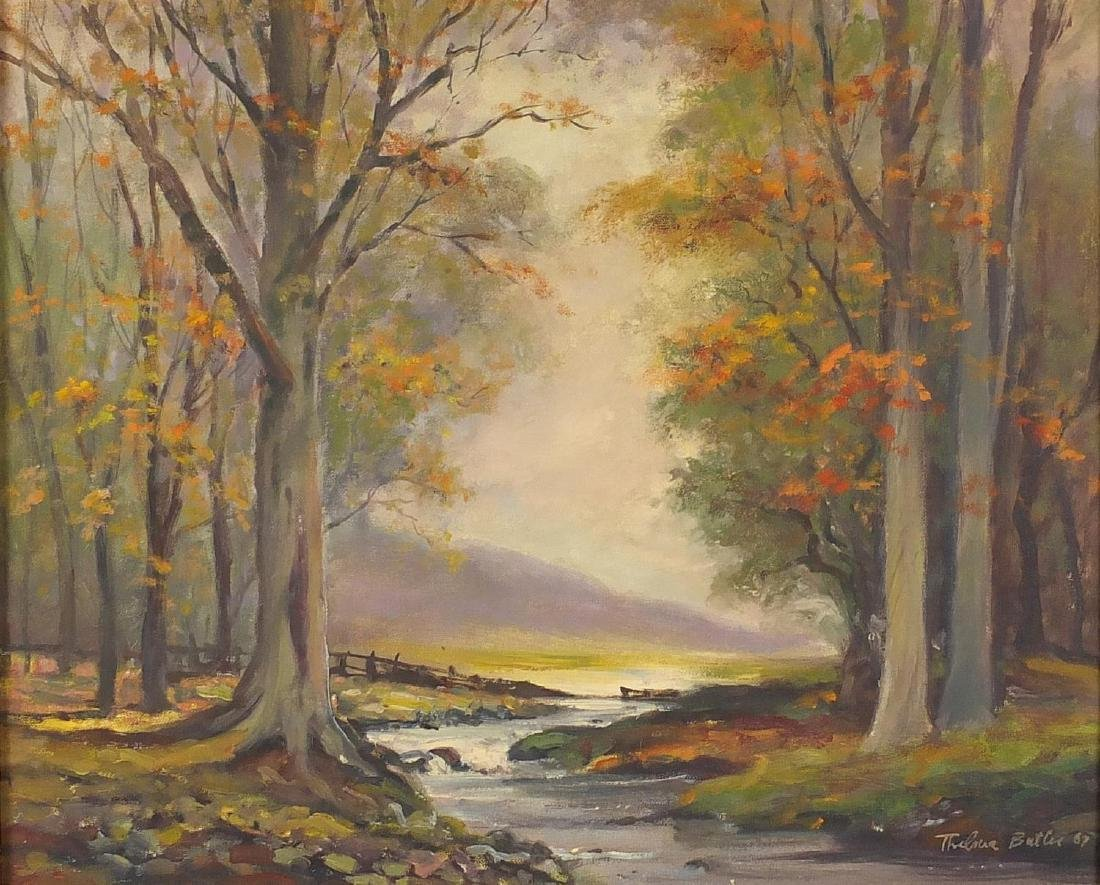 Thelma Leaney Butler - River through woodlands, oil on canvas board, mounted and framed, 49cm x 39cm