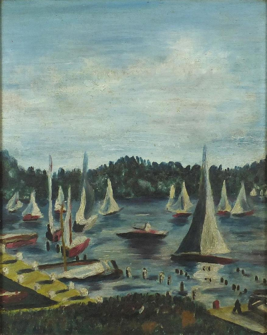 Sailor and boats on a lake, American impressionist style oil on board, bearing an indistinct