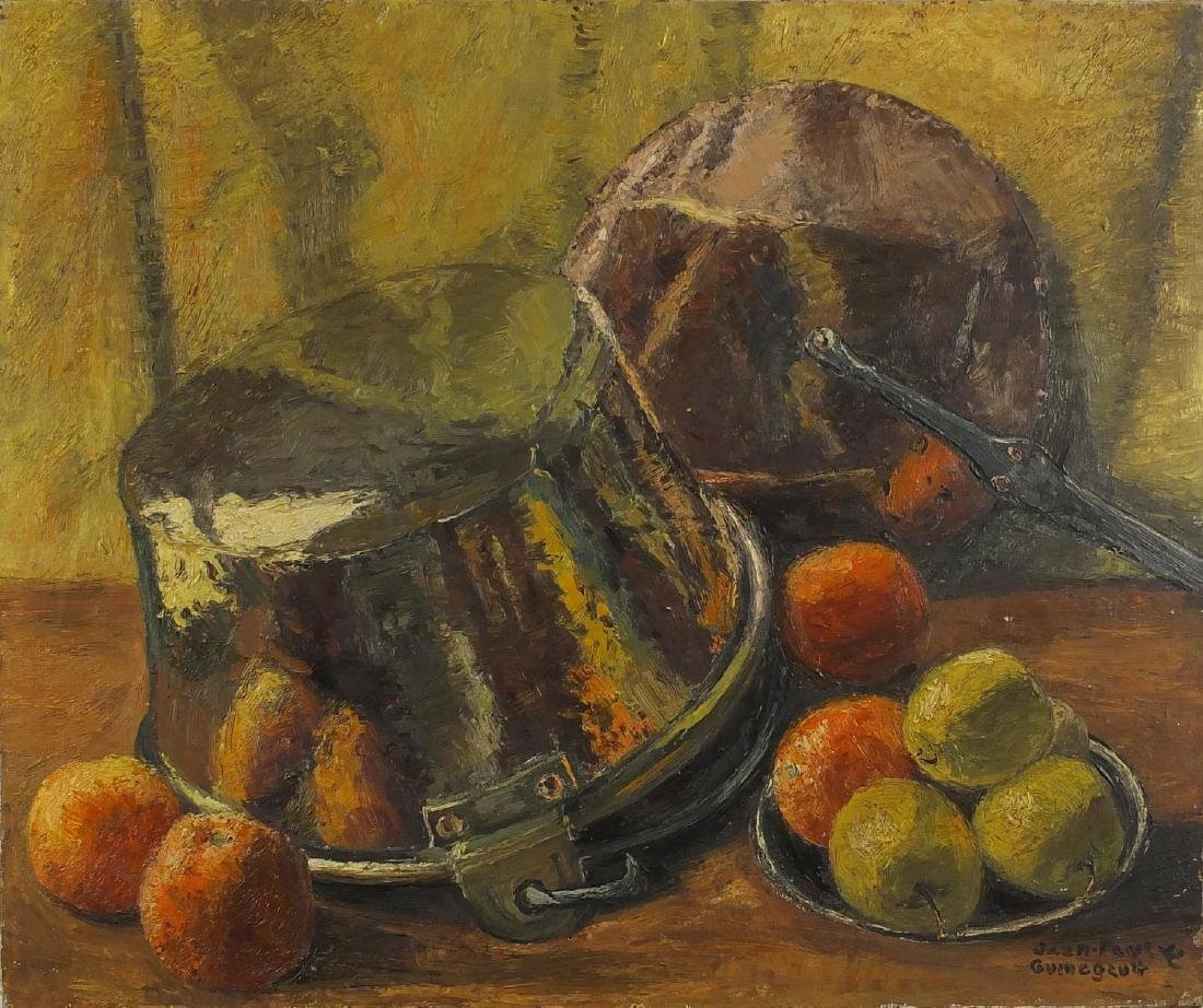 Jean Paul Guinegault - Still life fruit, oil on canvas, unframed, 64.5cm x 54cm Further condition