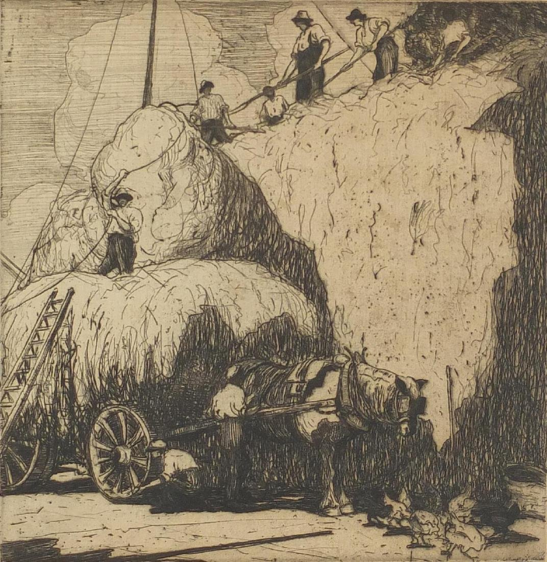 Edith M Garnet - Harvest scene, pencil signed black and white etching, mounted and framed, 24cm x