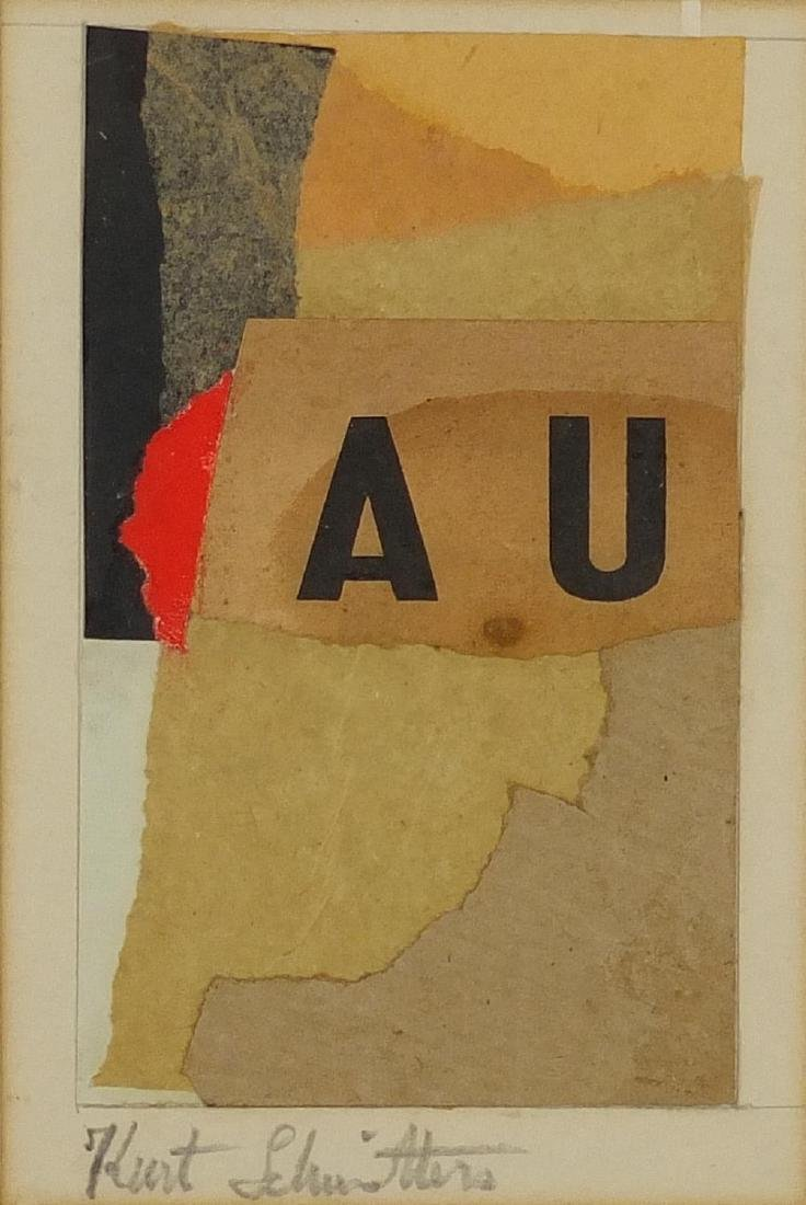 Abstract composition, German school mixed media and collage, bearing a signature Kurt Schwitters,