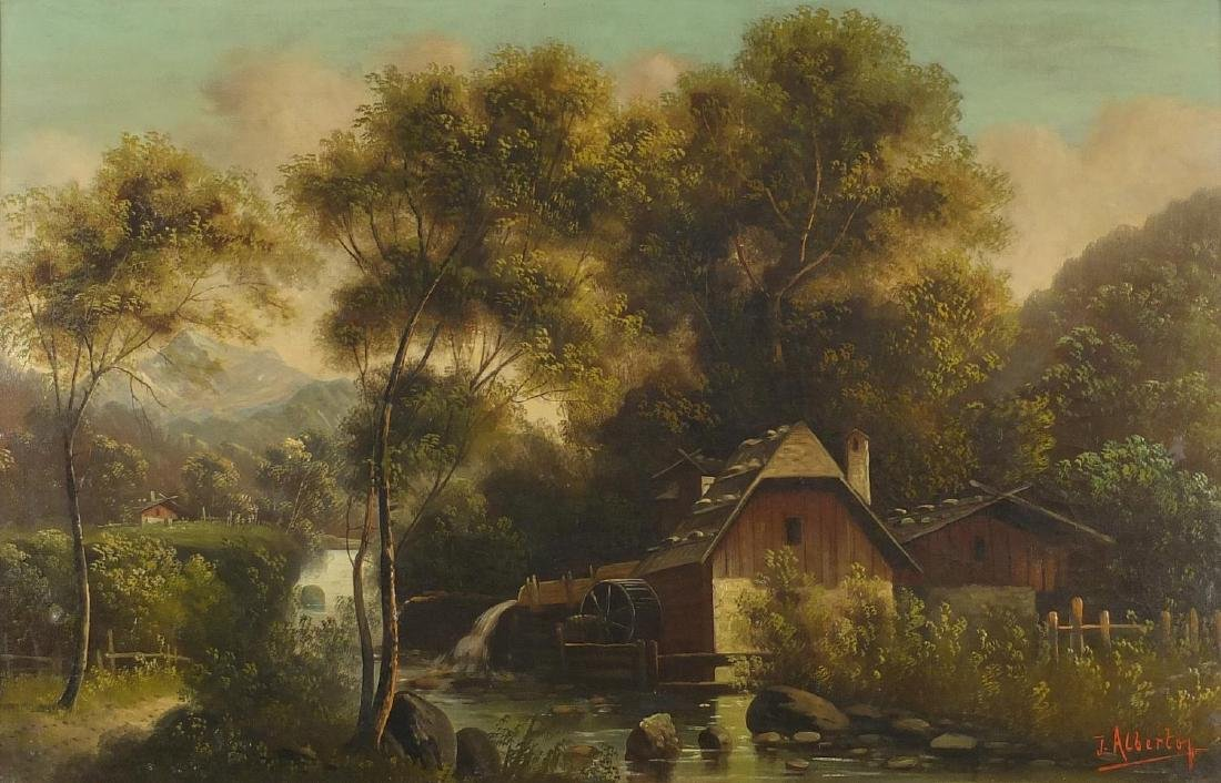 J Albertof - Lake with watermill before woodlands and mountains, 19th century oil on canvas, mounted