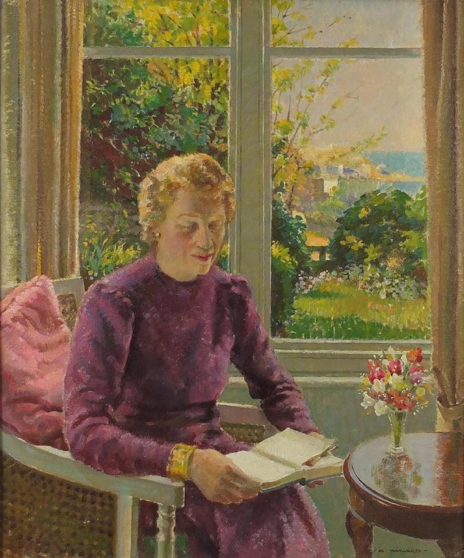 Arthur Hayward - Female in an interior before St Ives harbour, oil on canvas, inscribed verso,