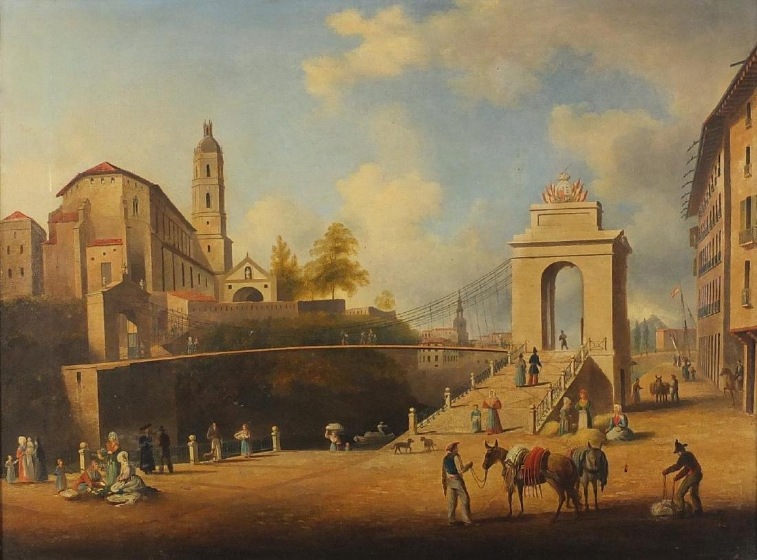 Venetian Arsenal with street sellers and donkey's, late 18/ early 19th century Italian school oil on