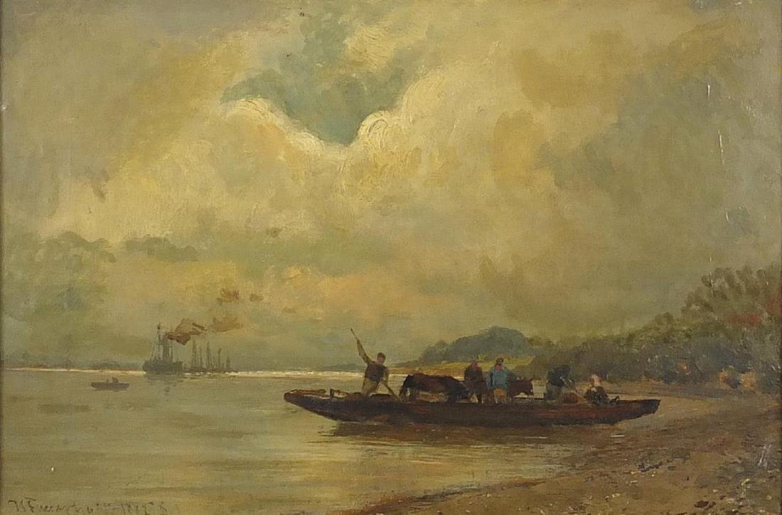 Farmers coming to shore, 19th century oil on canvas, indistinctly signed to the lower left,