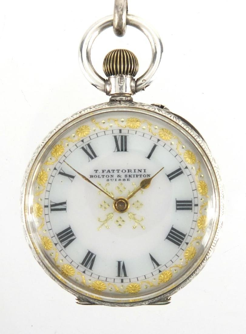Ladies T. Fattorini silver open face pocket watch with ornate dial and floral engraved case, with