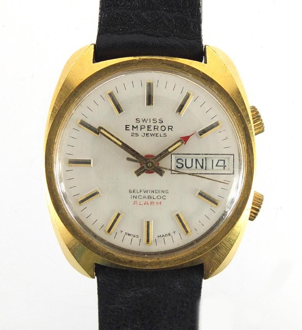 Gentleman's Swiss Emperor self winding wristwatch with alarm and day date dial, 3.3cm in diameter