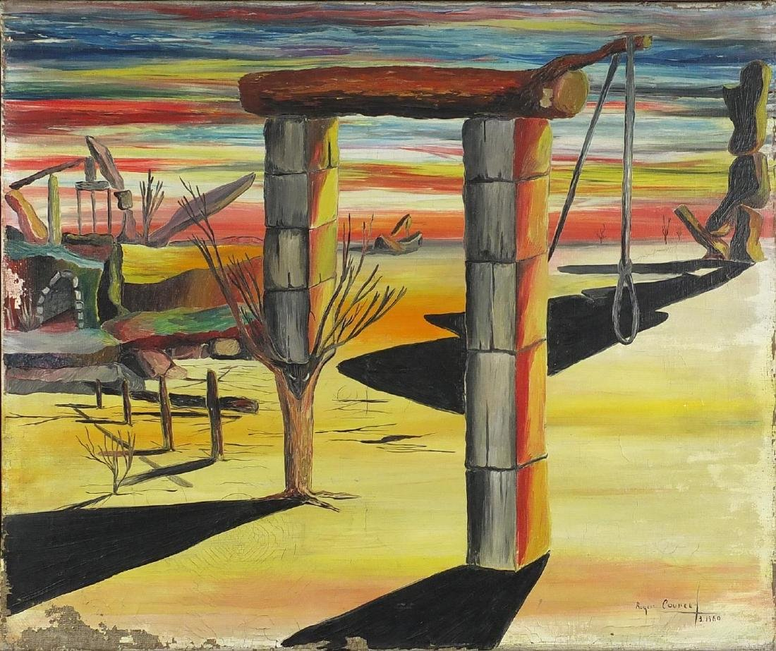 Abstract composition, surreal landscape, French school oil on canvas, bearing a signature Roger