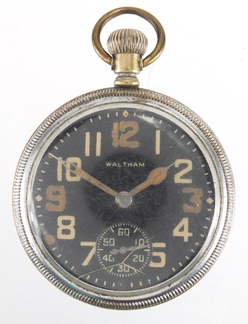 Military interest Waltham pocket watch with black and subsidiary dials Further condition reports can