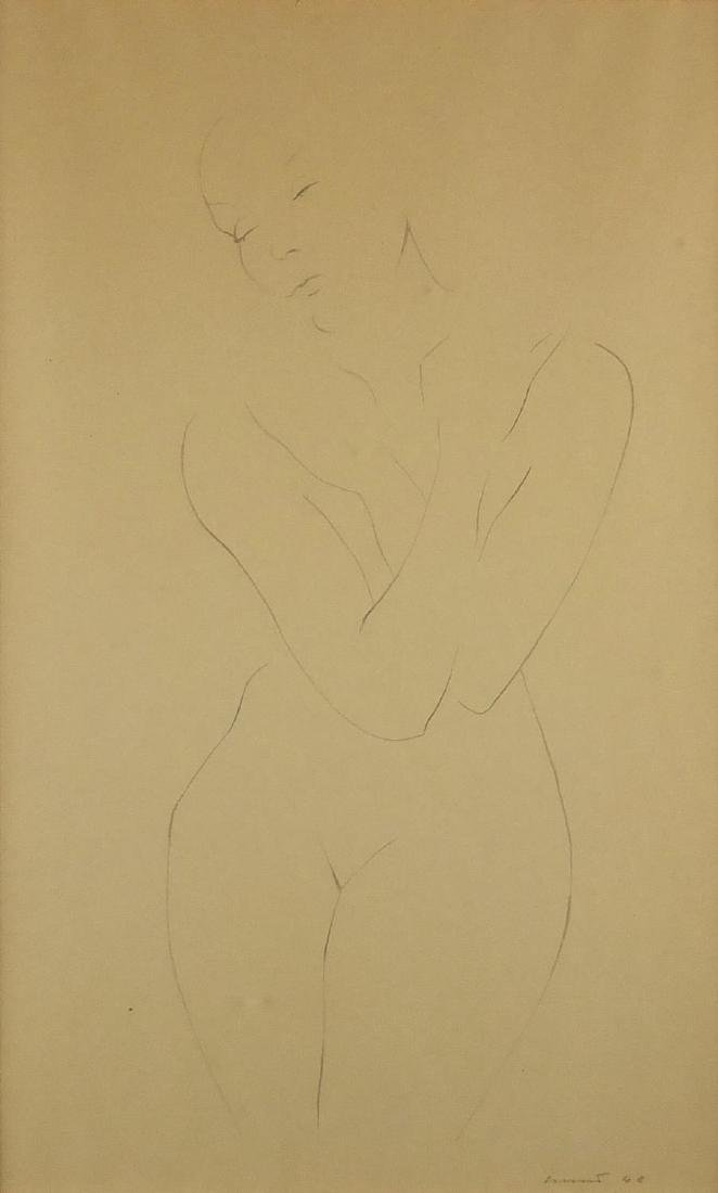 Portrait of a nude female, pencil sketch onto paper, bearing an indistinct signature and dated 48,
