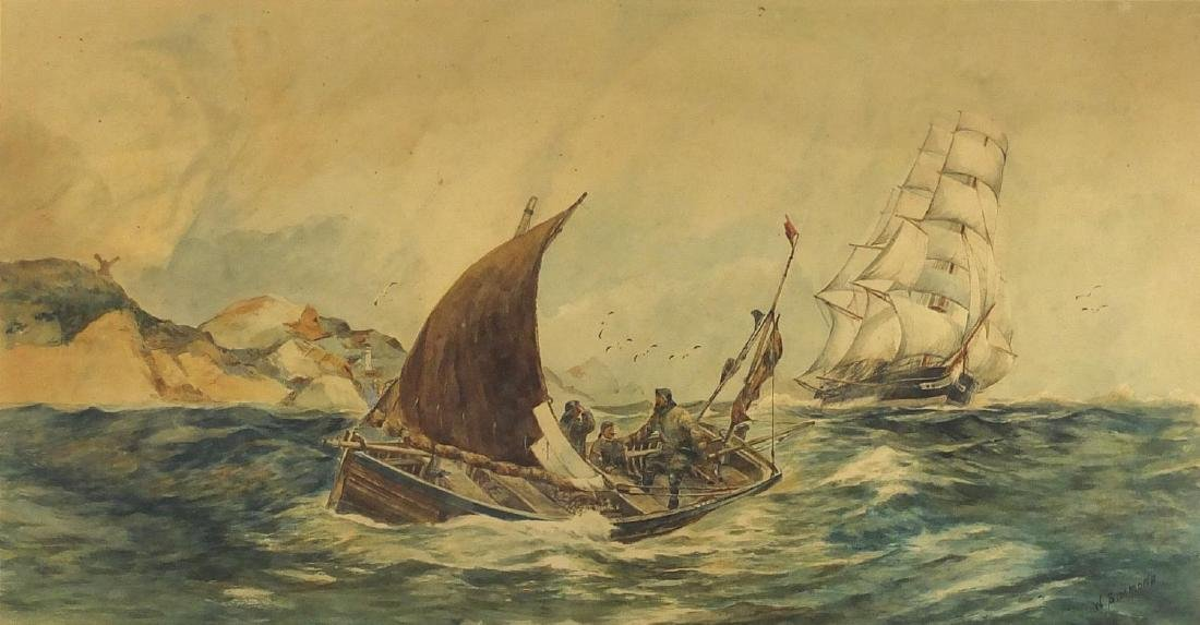 W Simmons - Fishing boat and clipper on rough seas, early 20th century watercolour, mounted and