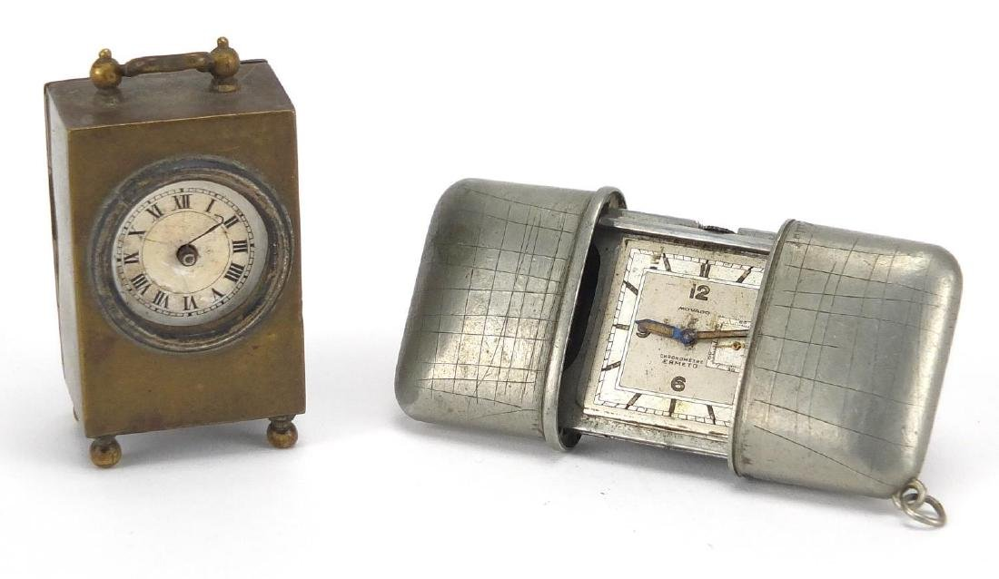 Movado chronometer travelling self winder watch, together with a miniature French brass cased