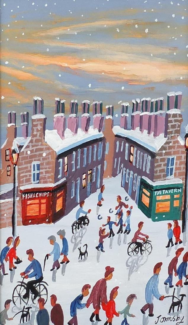 John Ormsby - Snowy street scene with figures, oil on board, framed, 34.5cm x 24cm Further condition
