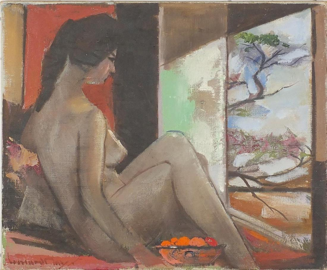 Nude female in an interior looking out of a window, impressionist oil on canvas, bearing an