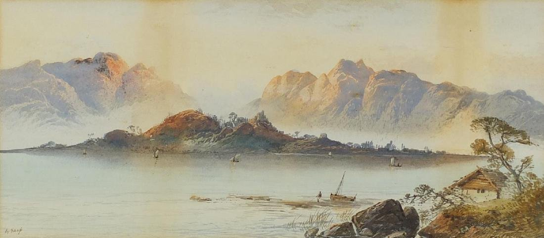 William Earp - Fishermen before mountains, 19th century watercolour on card, mounted and framed,
