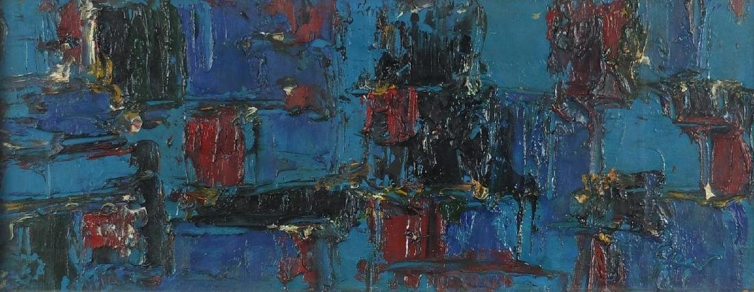 Manner of William Gear - Abstract composition, impasto oil on board, framed, 80cm x 31.5cm Further